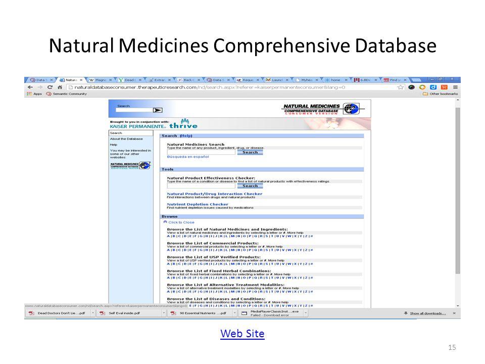 Natural Medicines Comprehensive Database 15 Web Site