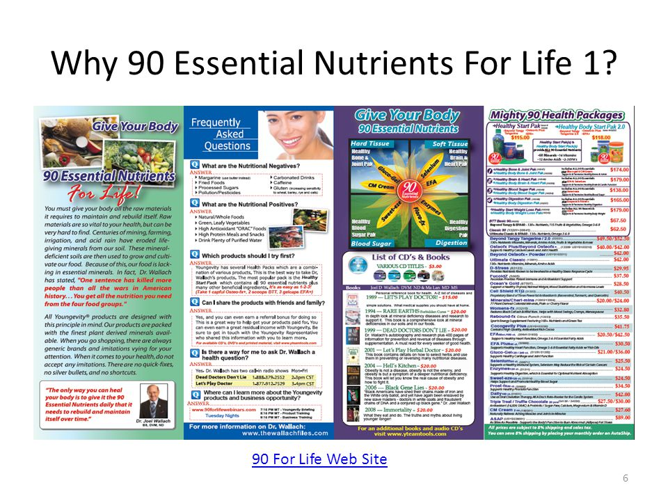 Why 90 Essential Nutrients For Life 1 6 90 For Life Web Site
