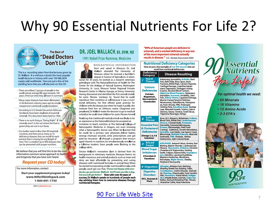 Why 90 Essential Nutrients For Life 2? 7 90 For Life Web Site