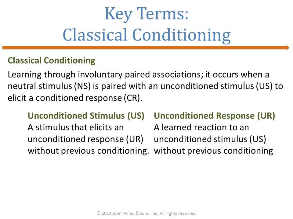 Key Terms: Classical Conditioning Classical Conditioning Learning through involuntary paired associations; it occurs when a neutral stimulus (NS) is paired with an unconditioned stimulus (US) to elicit a conditioned response (CR).