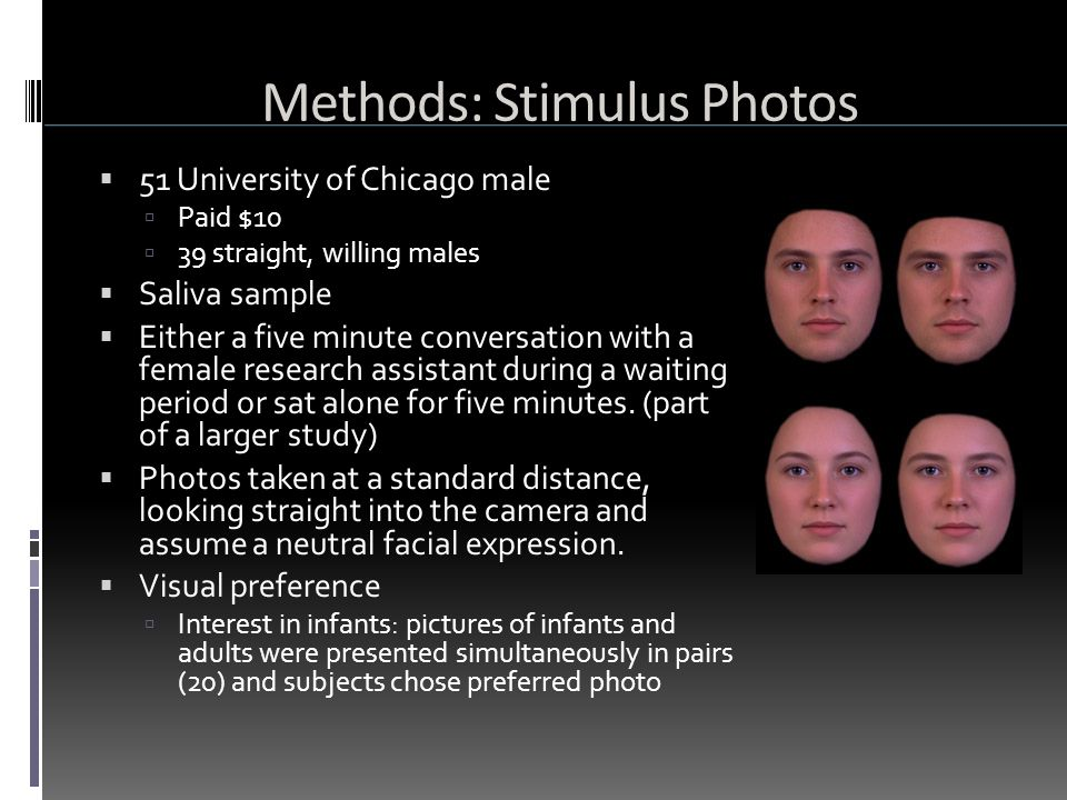 Methods: Stimulus Photos  51 University of Chicago male  Paid $10  39 straight, willing males  Saliva sample  Either a five minute conversation with a female research assistant during a waiting period or sat alone for five minutes.