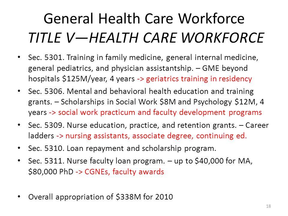 General Health Care Workforce TITLE V—HEALTH CARE WORKFORCE Sec.