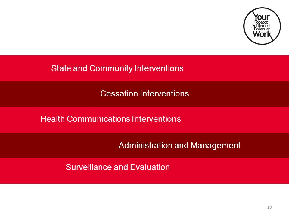 State and Community Interventions Health Communications Interventions Cessation Interventions Administration and Management Surveillance and Evaluation 10