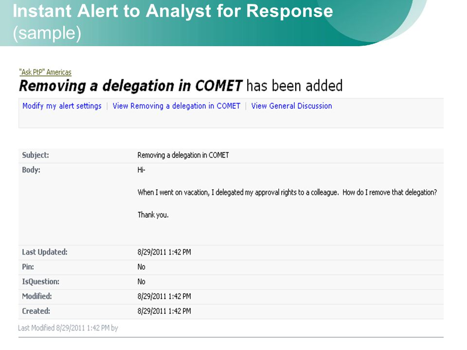 18 Instant Alert to Analyst for Response (sample)