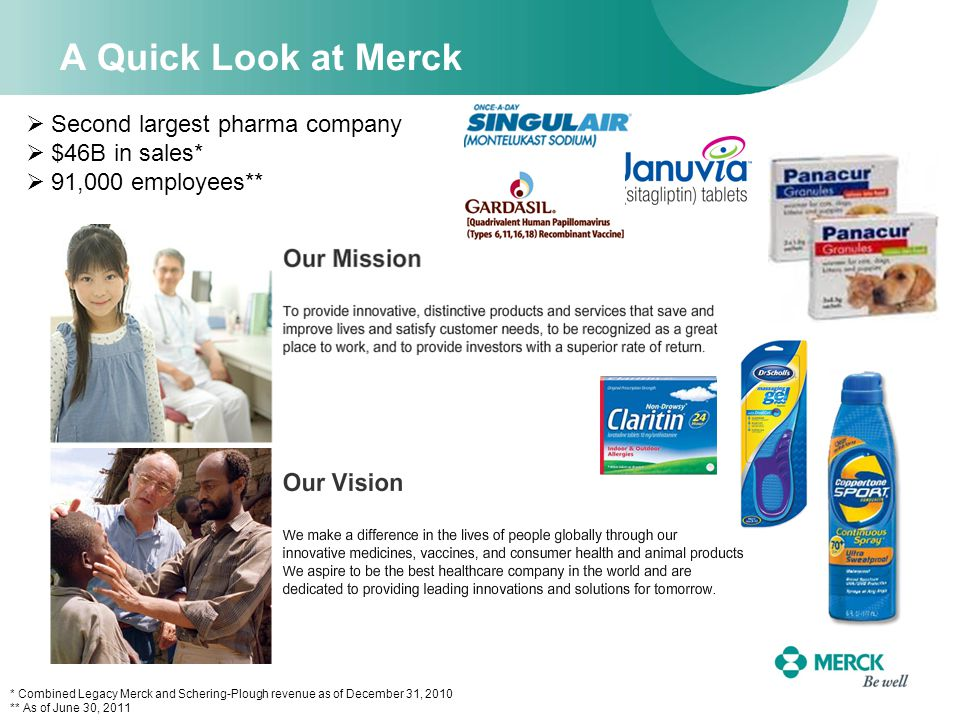 A Quick Look at Merck  Second largest pharma company  $46B in sales*  91,000 employees** * Combined Legacy Merck and Schering-Plough revenue as of December 31, 2010 ** As of June 30, 2011