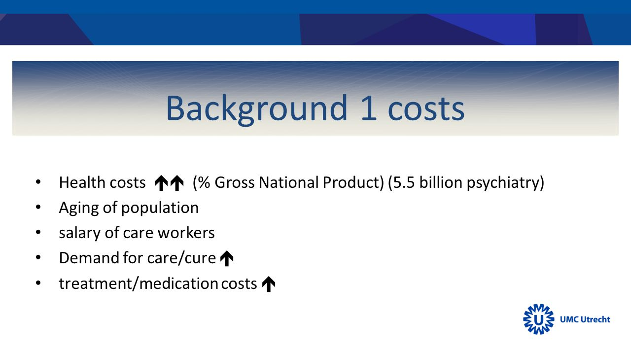 Background 1 costs Health costs  (% Gross National Product) (5.5 billion psychiatry) Aging of population salary of care workers Demand for care/cure  treatment/medication costs 