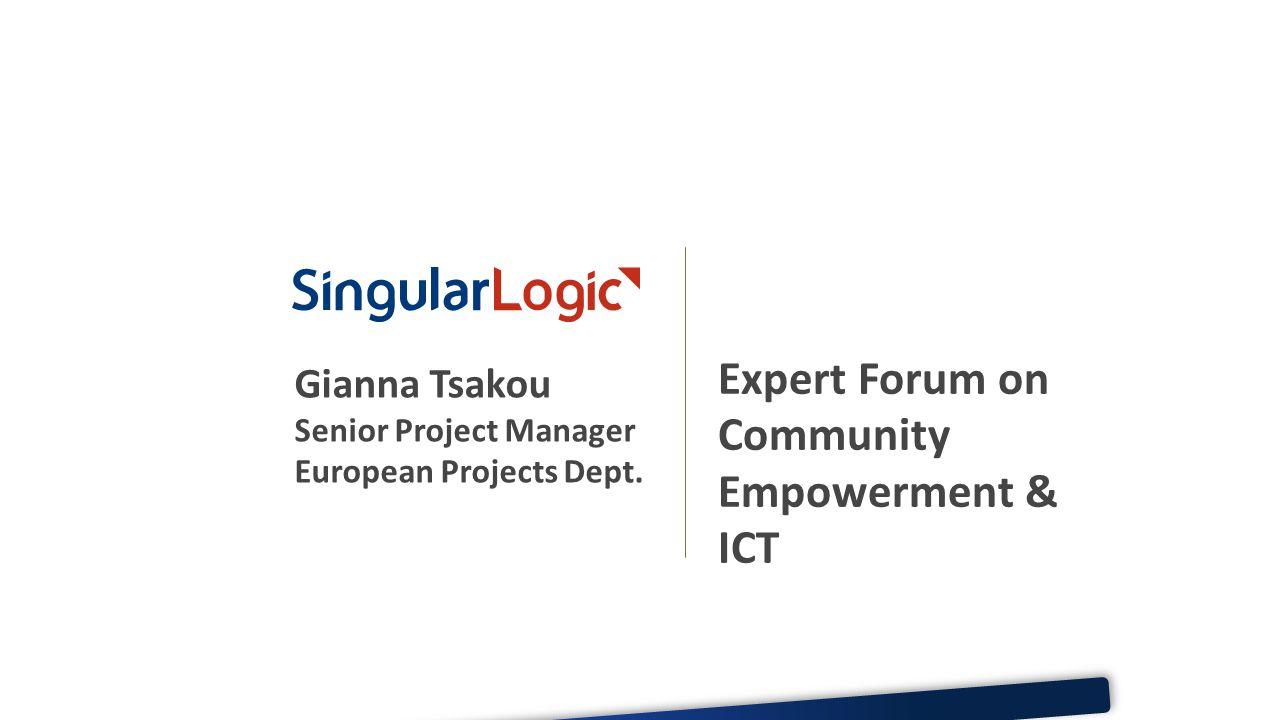 Gianna Tsakou Senior Project Manager European Projects Dept.