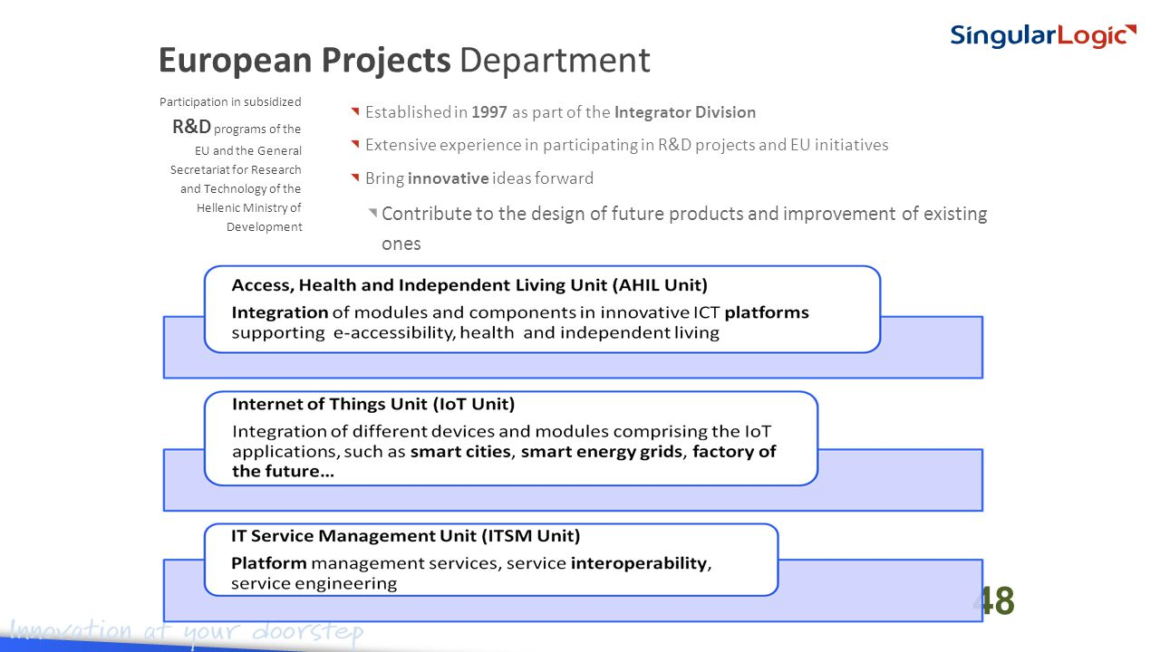 Established in 1997 as part of the Integrator Division Extensive experience in participating in R&D projects and EU initiatives Bring innovative ideas forward Contribute to the design of future products and improvement of existing ones Participation in subsidized R&D programs of the EU and the General Secretariat for Research and Technology of the Hellenic Ministry of Development European Projects Department 48