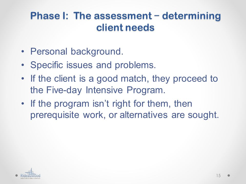 Phase I: The assessment − determining client needs Personal background.