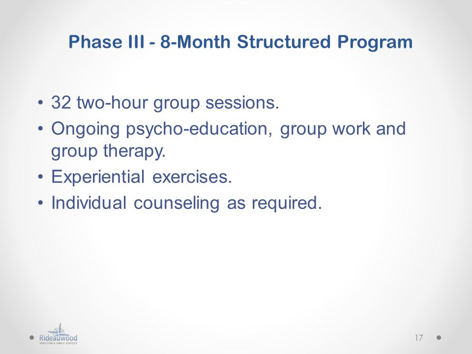 Phase III - 8-Month Structured Program 32 two-hour group sessions.