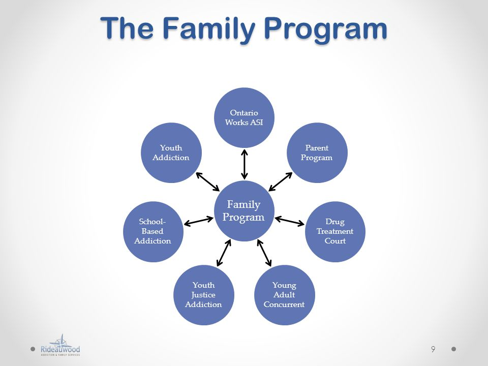 The Family Program Family Program Ontario Works ASI Parent Program Drug Treatment Court Young Adult Concurrent Youth Justice Addiction School- Based Addiction Youth Addiction 9