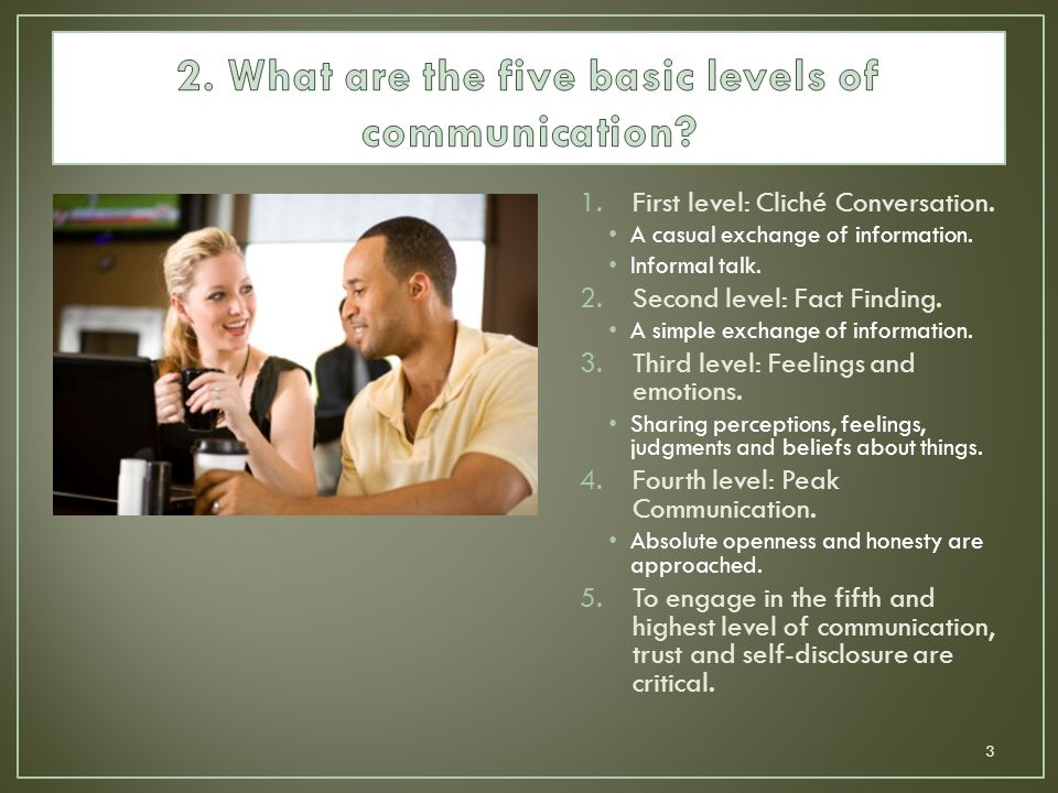 1.First level: Cliché Conversation. A casual exchange of information. Informal talk. 2.Second level: Fact Finding. A simple exchange of information. 3