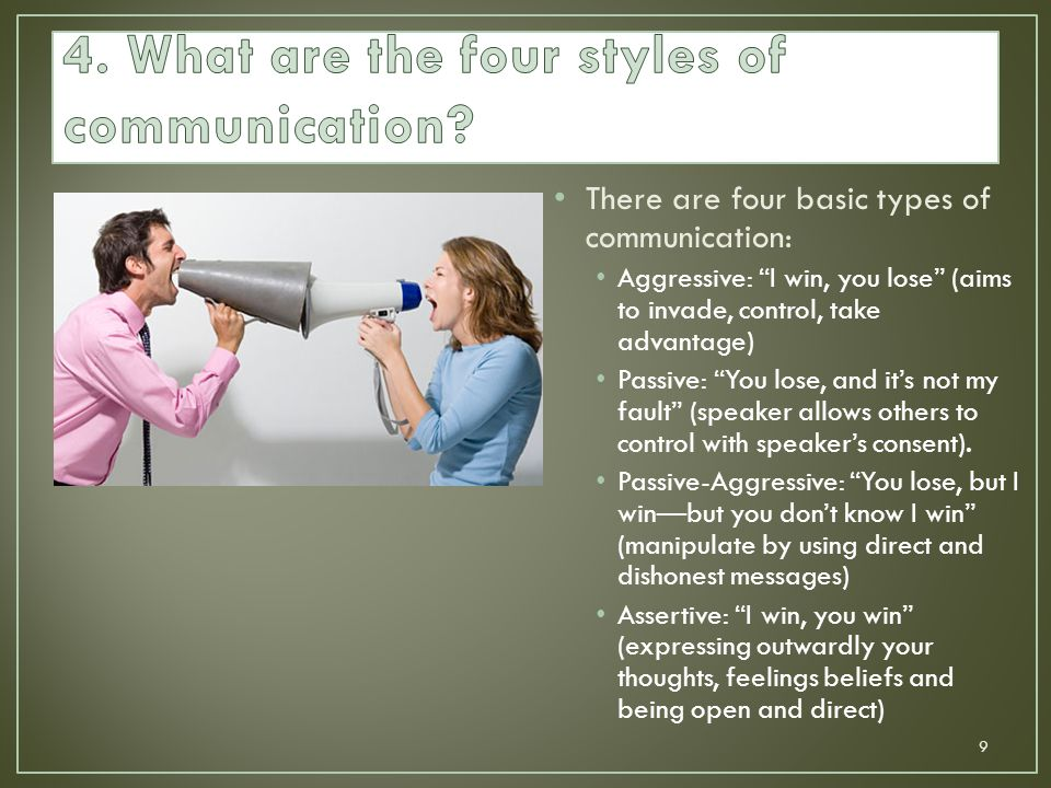 """There are four basic types of communication: Aggressive: """"I win, you lose"""" (aims to invade, control, take advantage) Passive: """"You lose, and it's not"""