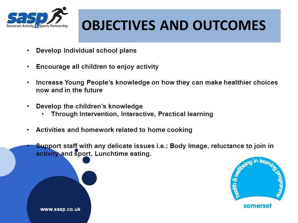 OBJECTIVES AND OUTCOMES Develop Individual school plans Encourage all children to enjoy activity Increase Young People's knowledge on how they can mak