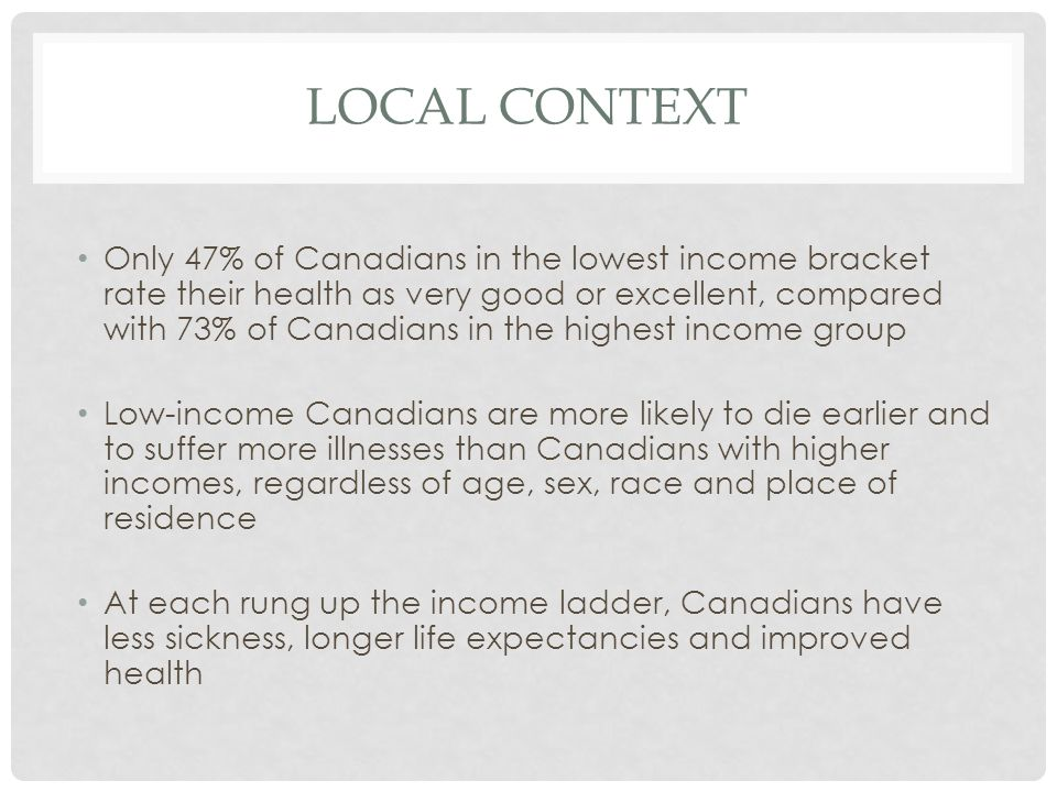 LOCAL CONTEXT Only 47% of Canadians in the lowest income bracket rate their health as very good or excellent, compared with 73% of Canadians in the highest income group Low-income Canadians are more likely to die earlier and to suffer more illnesses than Canadians with higher incomes, regardless of age, sex, race and place of residence At each rung up the income ladder, Canadians have less sickness, longer life expectancies and improved health