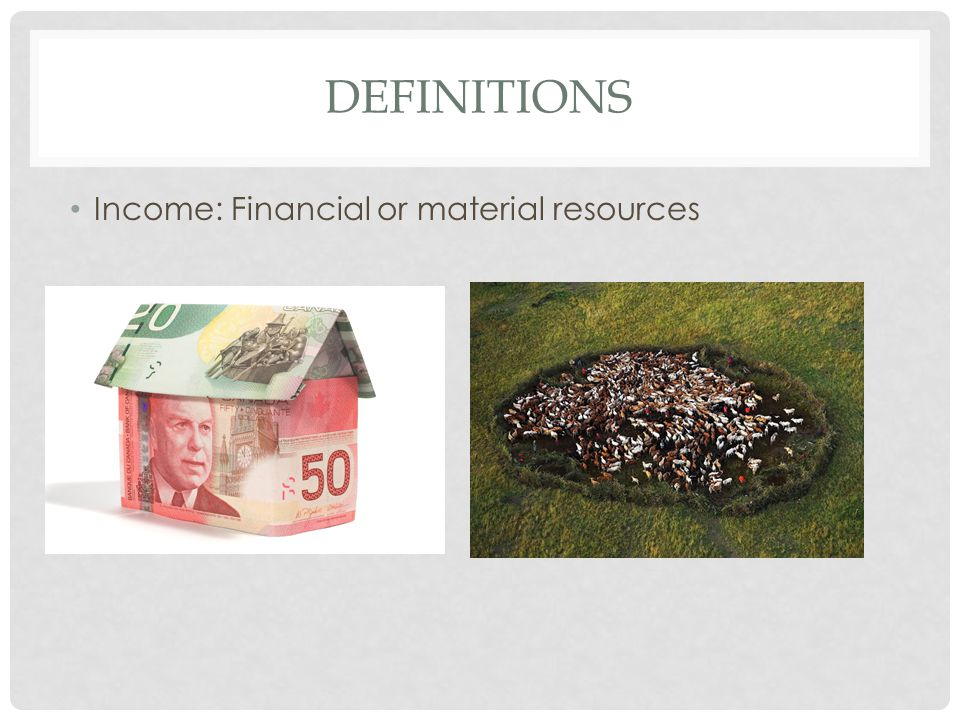 DEFINITIONS Income: Financial or material resources