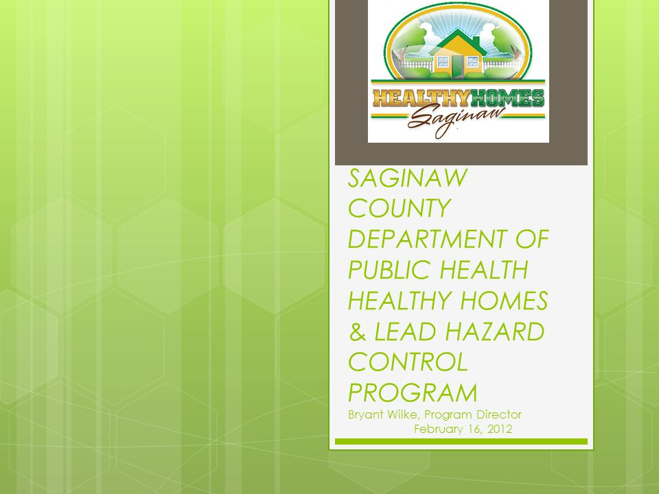 SAGINAW COUNTY DEPARTMENT OF PUBLIC HEALTH HEALTHY HOMES & LEAD HAZARD CONTROL PROGRAM Bryant Wilke, Program Director February 16, 2012