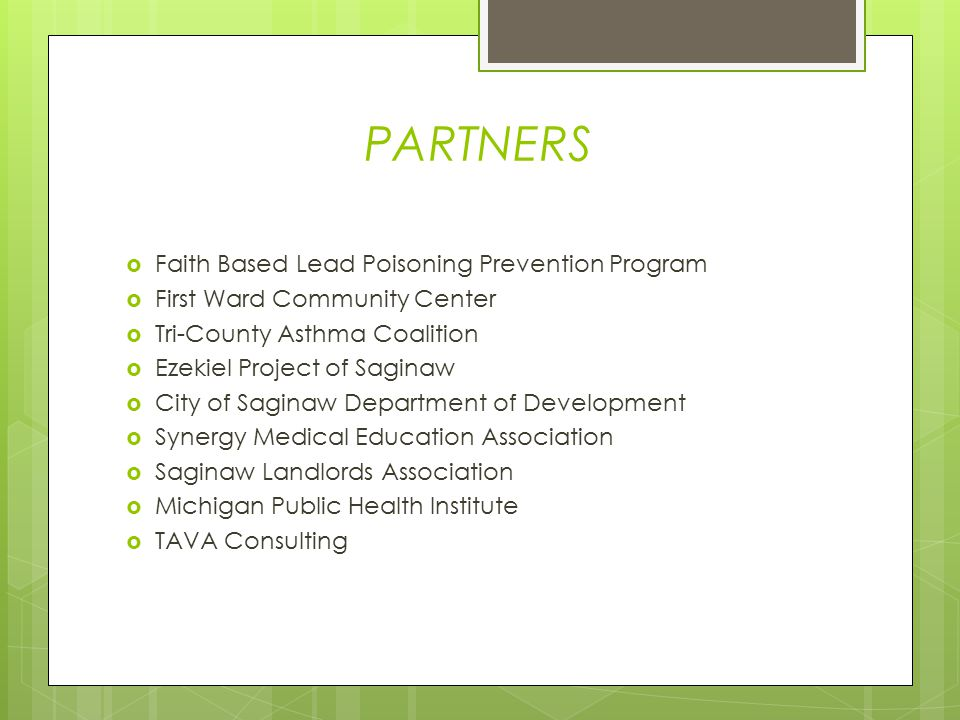 PARTNERS  Faith Based Lead Poisoning Prevention Program  First Ward Community Center  Tri-County Asthma Coalition  Ezekiel Project of Saginaw  City of Saginaw Department of Development  Synergy Medical Education Association  Saginaw Landlords Association  Michigan Public Health Institute  TAVA Consulting