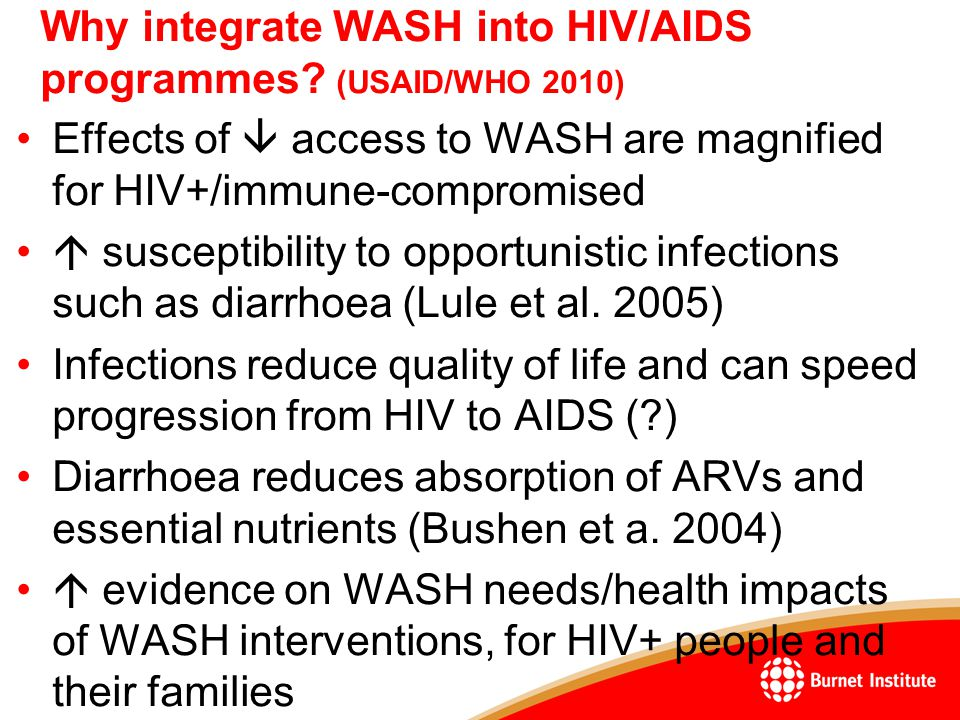 Why integrate WASH into HIV/AIDS programmes.