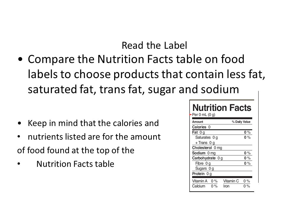 Read the Label Compare the Nutrition Facts table on food labels to choose products that contain less fat, saturated fat, trans fat, sugar and sodium Keep in mind that the calories and nutrients listed are for the amount of food found at the top of the Nutrition Facts table