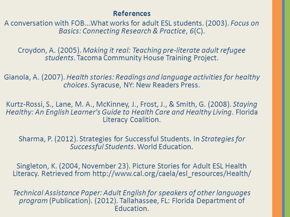 References A conversation with FOB...What works for adult ESL students. (2003). Focus on Basics: Connecting Research & Practice, 6(C). Croydon, A. (20