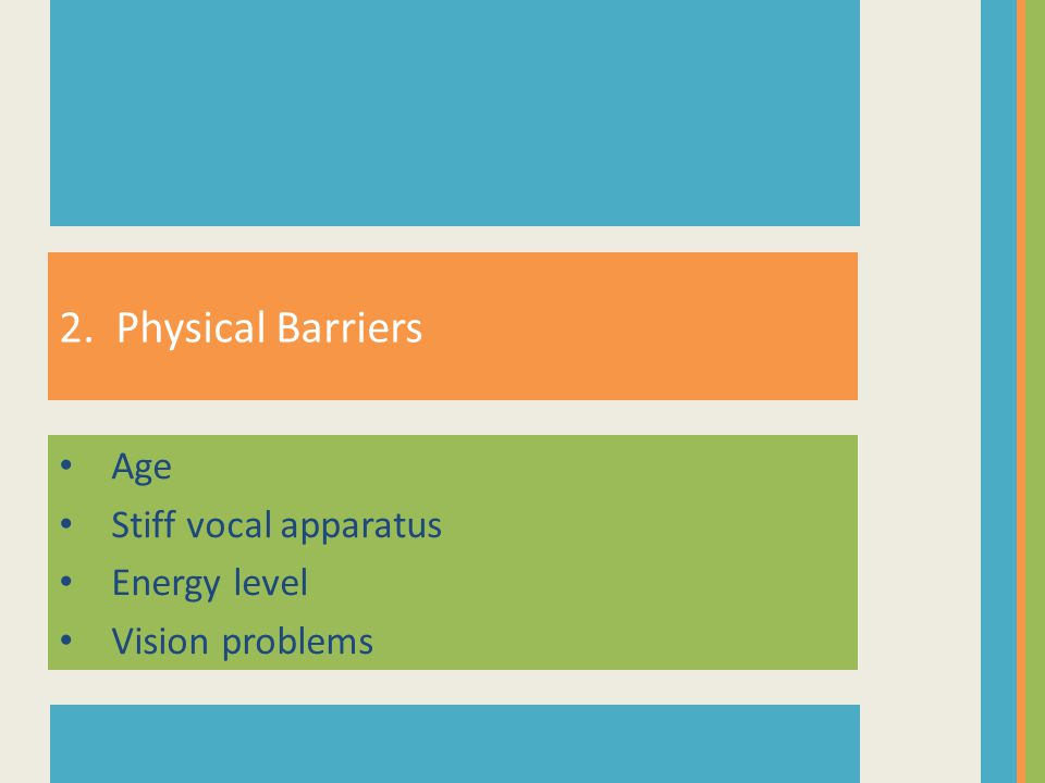 Age Stiff vocal apparatus Energy level Vision problems 2. Physical Barriers