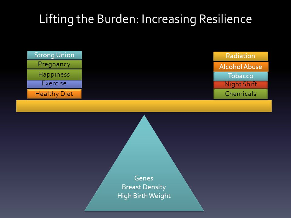 Genes Breast Density High Birth Weight Genes Breast Density High Birth Weight Healthy Diet Exercise Happiness Chemicals Night Shift Tobacco Pregnancy Alcohol Abuse Radiation Strong Union Lifting the Burden: Increasing Resilience