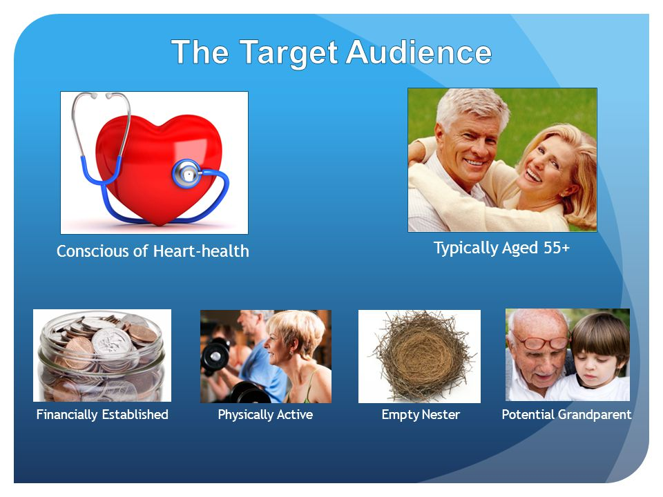 Typically Aged 55+ Conscious of Heart-health Financially Established Potential GrandparentEmpty Nester Physically Active