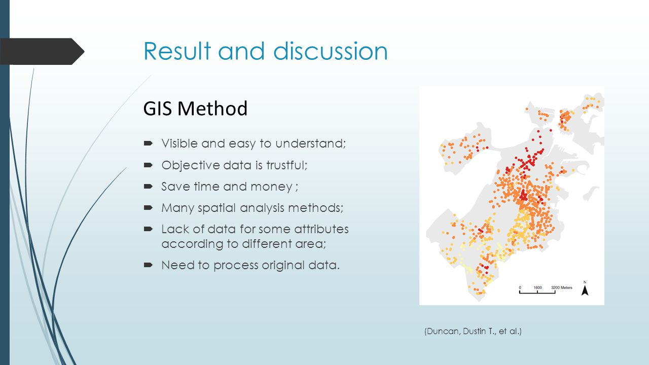 Result and discussion (Duncan, Dustin T., et al.) GIS Method  Visible and easy to understand;  Objective data is trustful;  Save time and money ; 