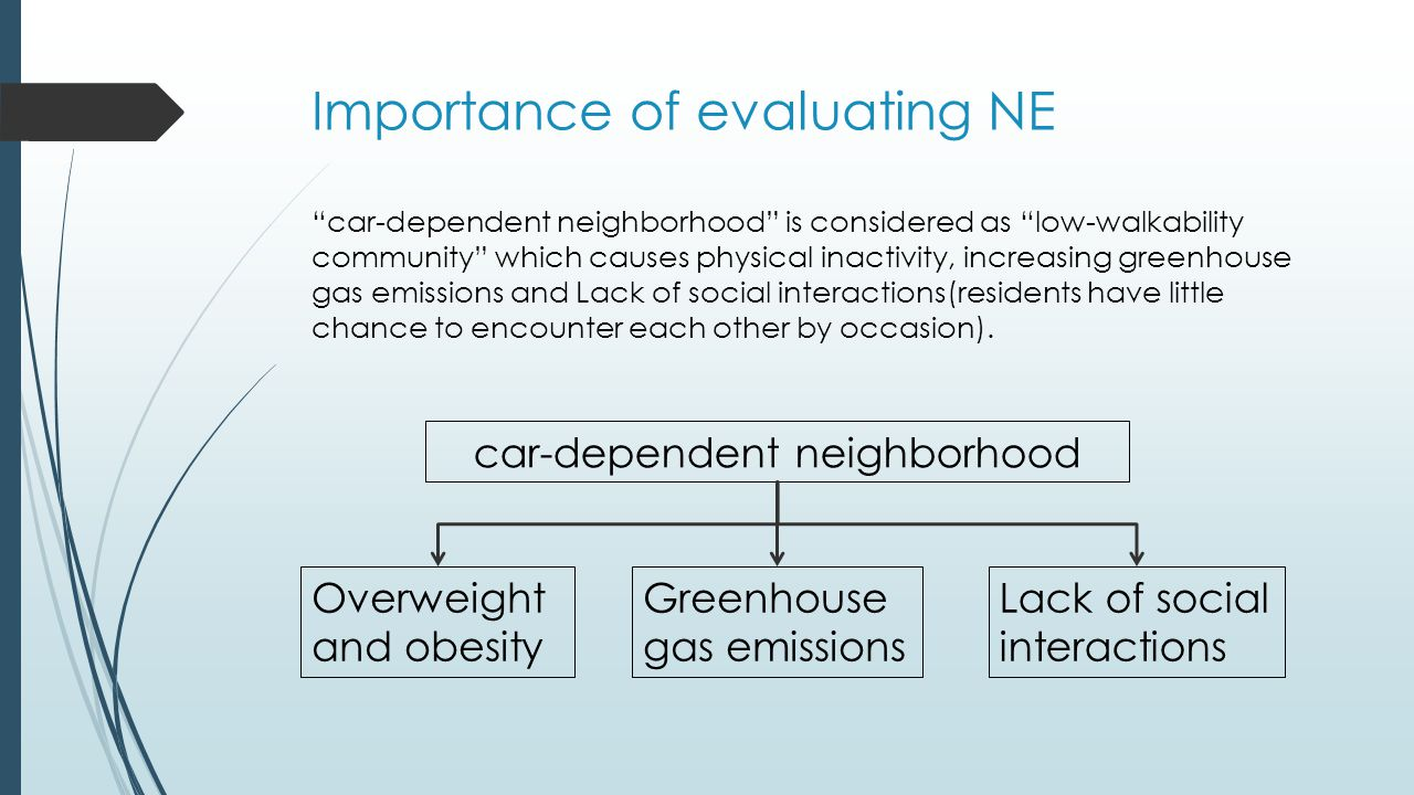 Traditional way to evaluate NE  Neighborhood Environment Walkability Scale(NEWS)  The NEWS-A is an abbreviated version of the Neighborhood Environment Walkability Scale (NEWS).