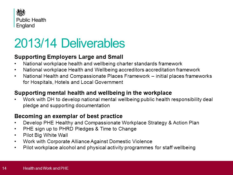 2013/14 Deliverables Supporting Employers Large and Small National workplace health and wellbeing charter standards framework National workplace Health and Wellbeing accreditors accreditation framework National Health and Compassionate Places Framework – initial places frameworks for Hospitals, Hotels and Local Government Supporting mental health and wellbeing in the workplace Work with DH to develop national mental wellbeing public health responsibility deal pledge and supporting documentation Becoming an exemplar of best practice Develop PHE Healthy and Compassionate Workplace Strategy & Action Plan PHE sign up to PHRD Pledges & Time to Change Pilot Big White Wall Work with Corporate Alliance Against Domestic Violence Pilot workplace alcohol and physical activity programmes for staff wellbeing 14Health and Work and PHE