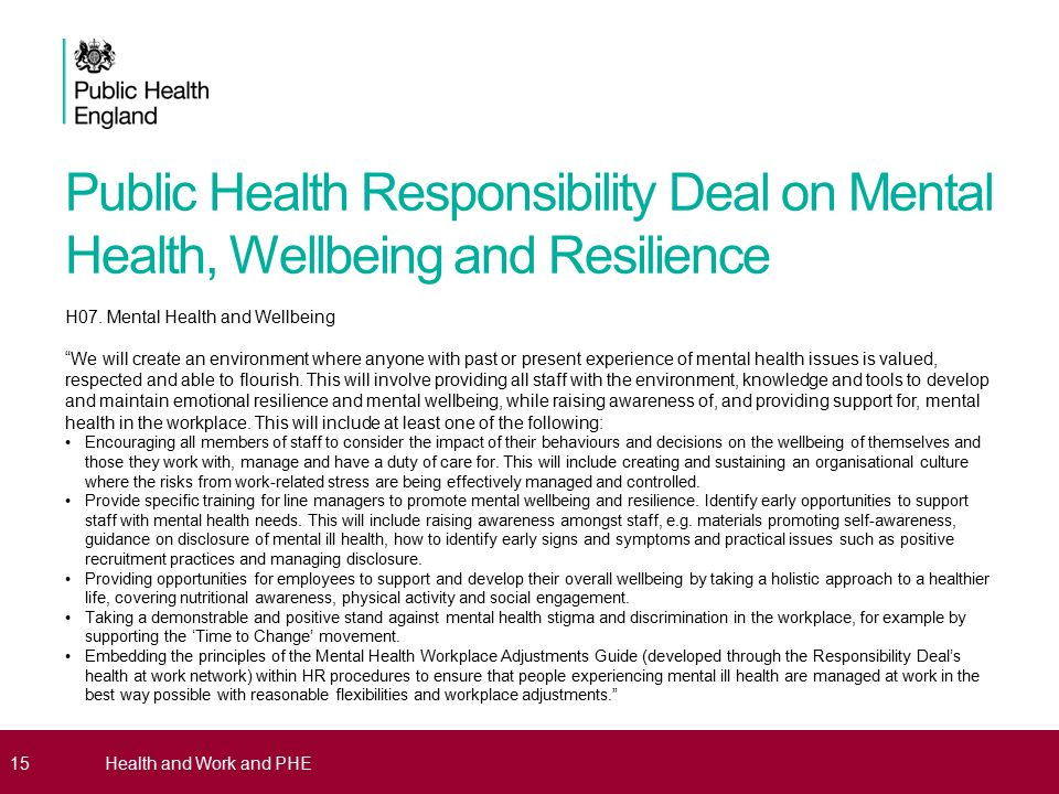 Public Health Responsibility Deal on Mental Health, Wellbeing and Resilience H07.