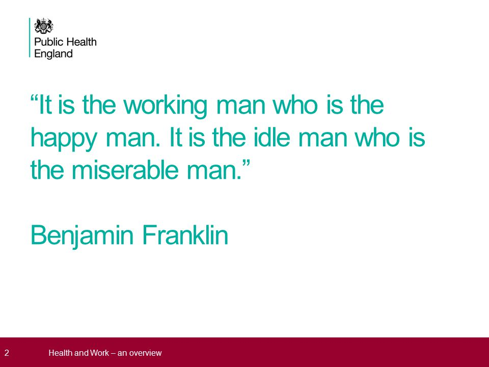Why is health at work a public health issue.