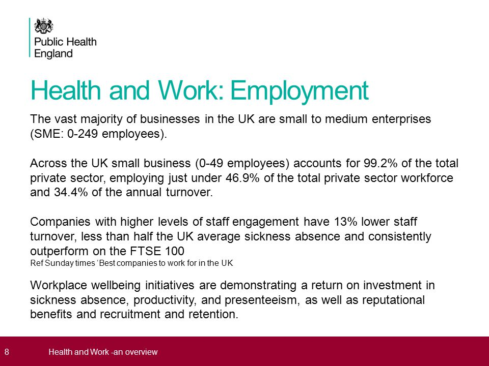 Being in good employment is protective of health.