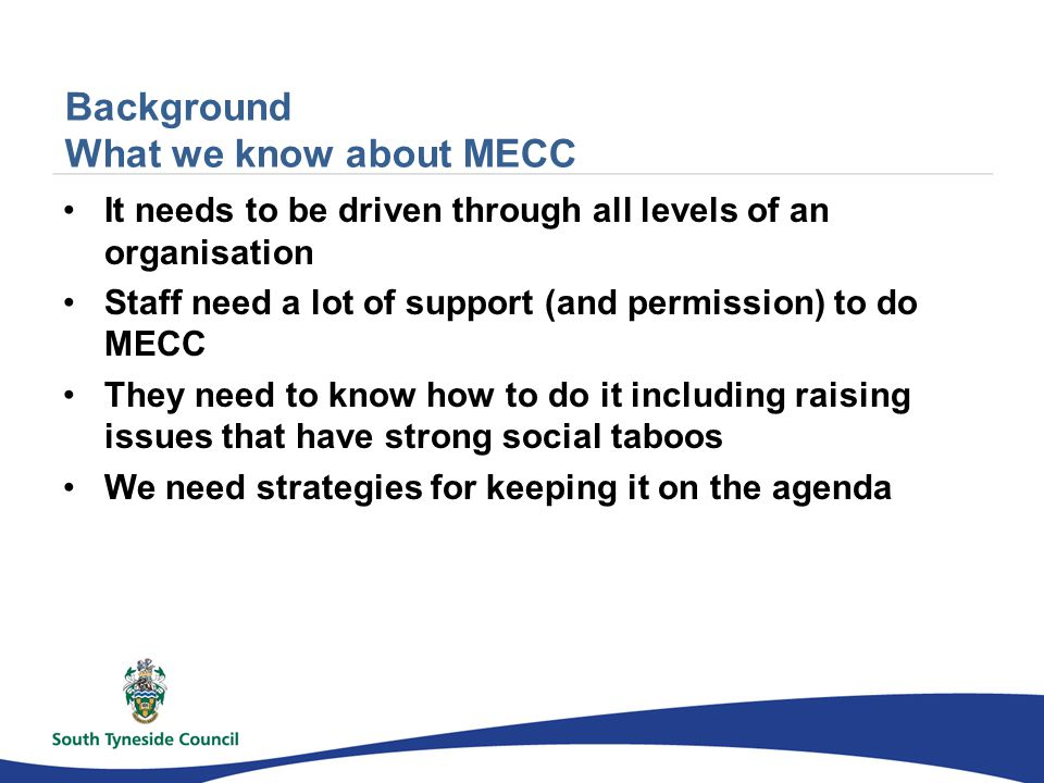 Background What we know about MECC It needs to be driven through all levels of an organisation Staff need a lot of support (and permission) to do MECC They need to know how to do it including raising issues that have strong social taboos We need strategies for keeping it on the agenda