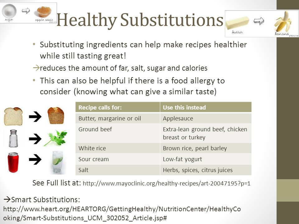 Healthy Substitutions Substituting ingredients can help make recipes healthier while still tasting great!  reduces the amount of far, salt, sugar and