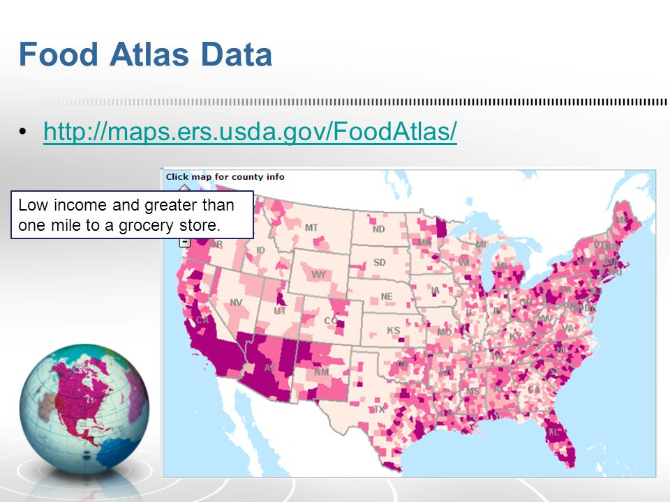 Food Atlas Data http://maps.ers.usda.gov/FoodAtlas/ Low income and greater than one mile to a grocery store.