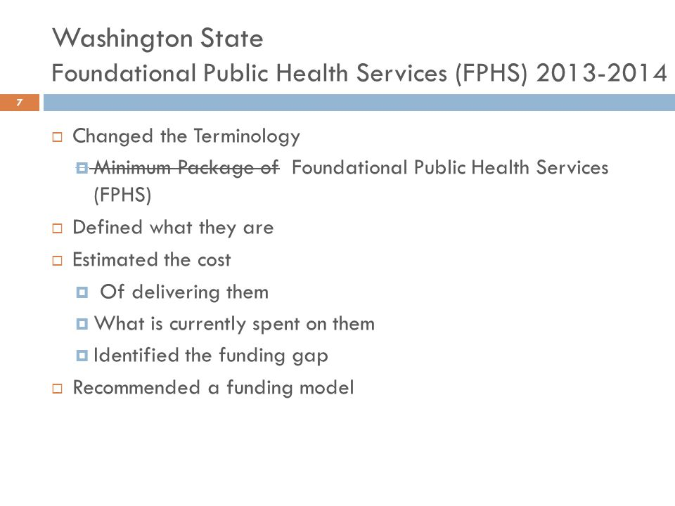 Washington State Foundational Public Health Services (FPHS) 2013-2014  Changed the Terminology  Minimum Package of Foundational Public Health Servic