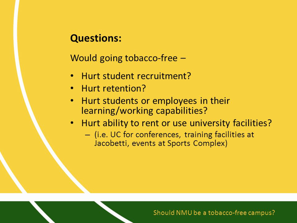 Questions: Would going tobacco-free – Hurt student recruitment.