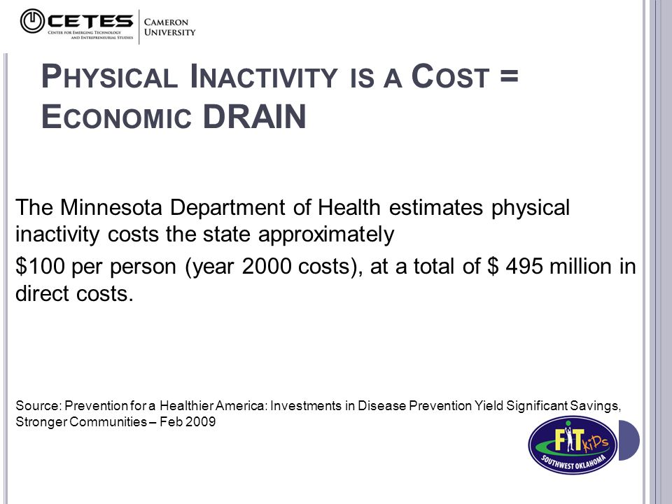 P HYSICAL I NACTIVITY IS A C OST = E CONOMIC DRAIN The Minnesota Department of Health estimates physical inactivity costs the state approximately $100