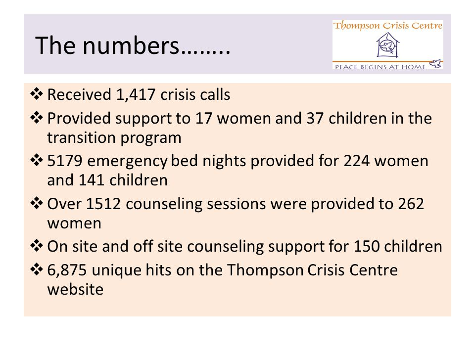 The numbers……..  Received 1,417 crisis calls  Provided support to 17 women and 37 children in the transition program  5179 emergency bed nights pro