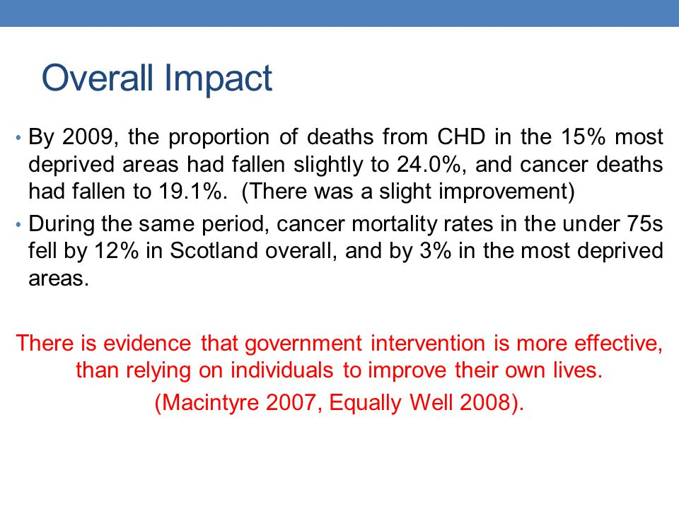 Overall Impact By 2009, the proportion of deaths from CHD in the 15% most deprived areas had fallen slightly to 24.0%, and cancer deaths had fallen to 19.1%.