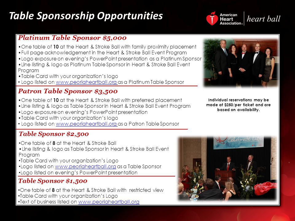 Table Sponsorship Opportunities Patron Table Sponsor $3,500 One table of 10 at the Heart & Stroke Ball with preferred placement Line listing & logo as