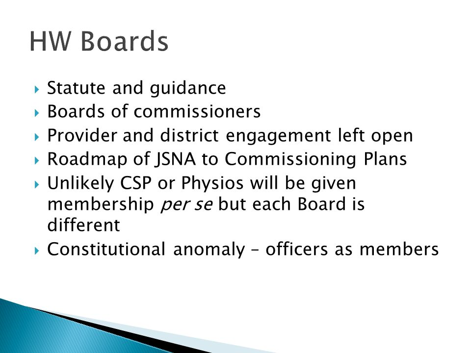  Statute and guidance  Boards of commissioners  Provider and district engagement left open  Roadmap of JSNA to Commissioning Plans  Unlikely CSP