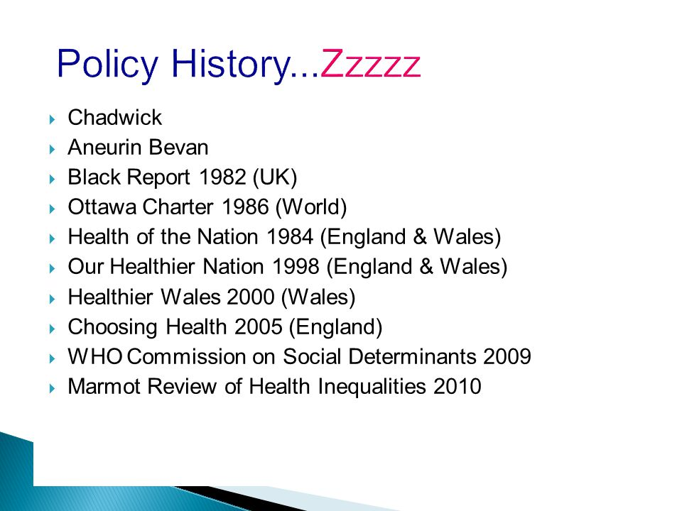 Policy History...Zzzzz  Chadwick  Aneurin Bevan  Black Report 1982 (UK)  Ottawa Charter 1986 (World)  Health of the Nation 1984 (England & Wales)