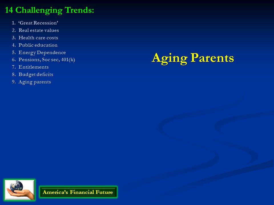 Aging Parents 14 Challenging Trends: America's Financial Future 1.