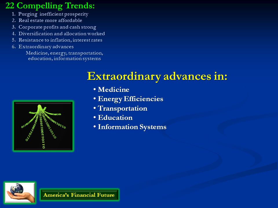 America's Financial Future Medicine Medicine Extraordinary advances in: Energy Efficiencies Energy Efficiencies Transportation Transportation Educatio