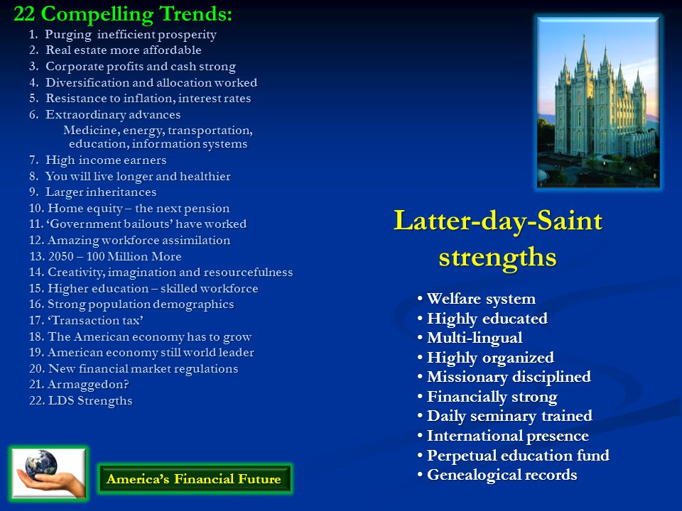 22 Compelling Trends: 1. Purging inefficient prosperity 2.