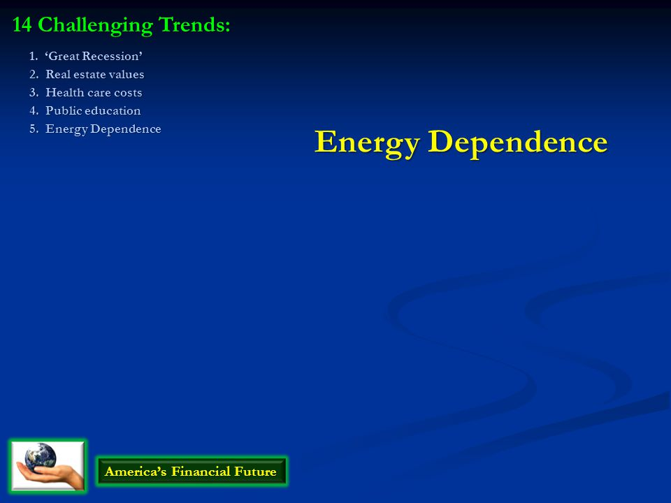 Energy Dependence 14 Challenging Trends: America's Financial Future 1.