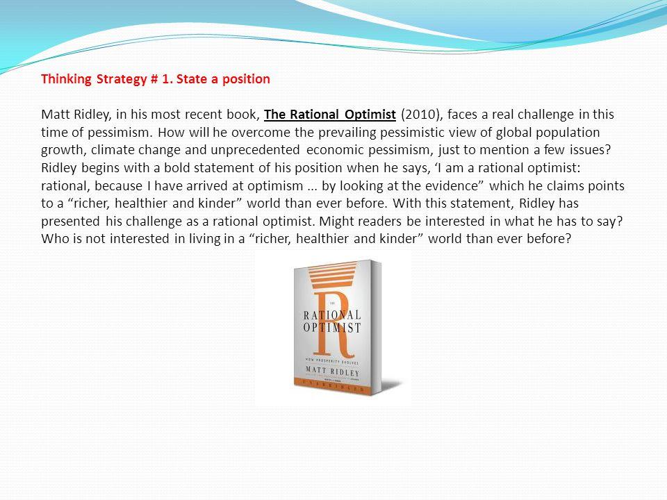 Thinking Strategy # 1.